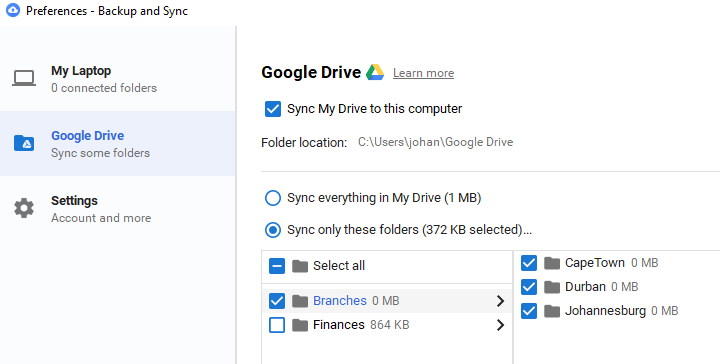Backup and Sync Setup