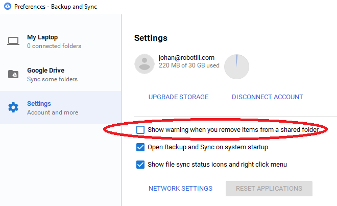 Setting up Backup and Sync