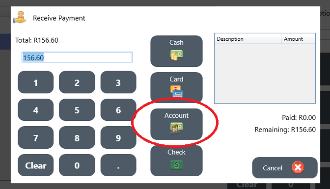 Pay with account