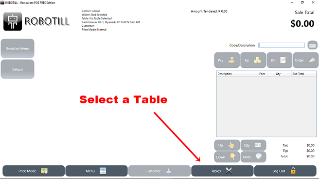 Select a restaurant table