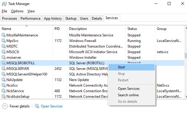 restart sql server service with task manager